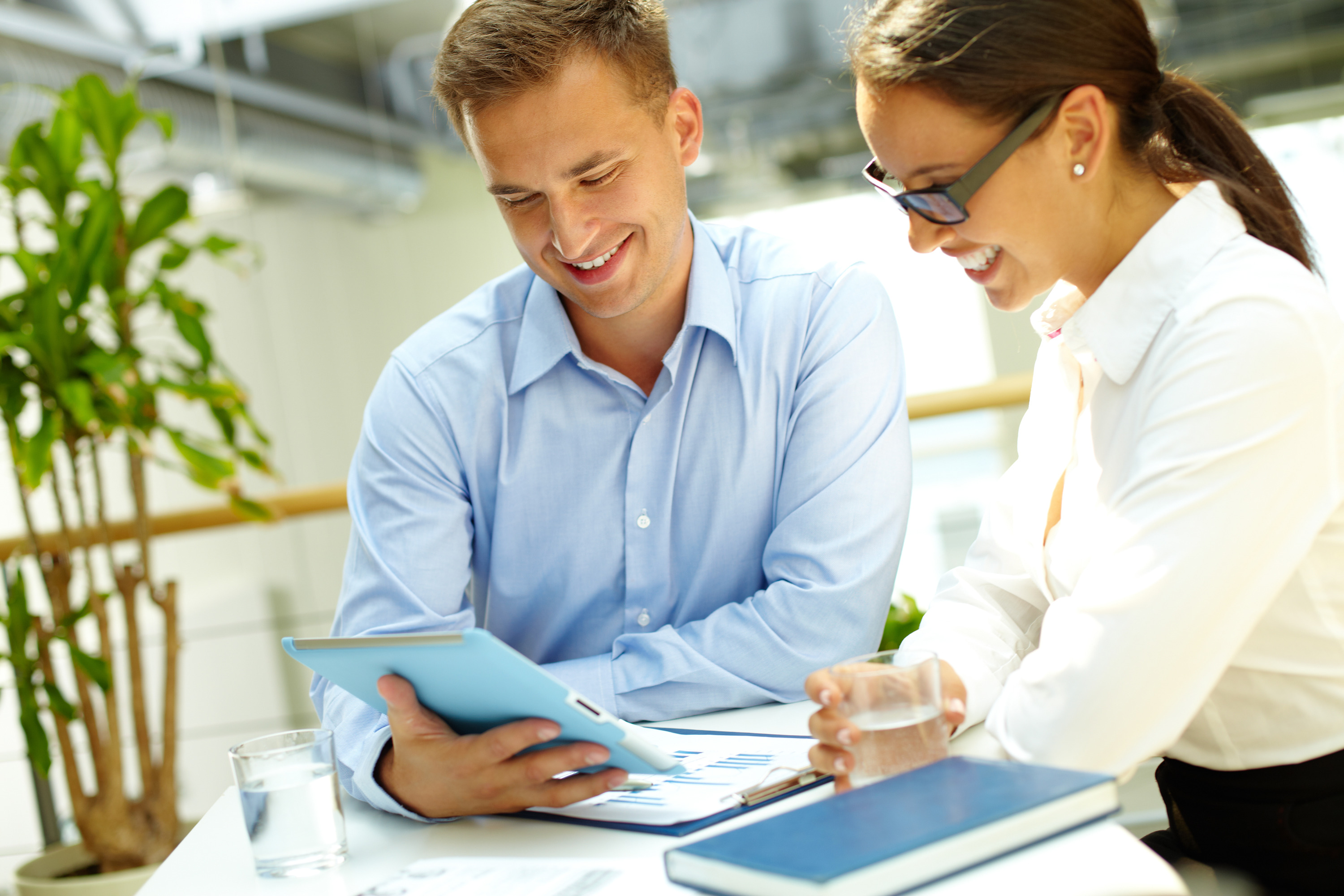 Image of a happy business team enjoying the results of their work