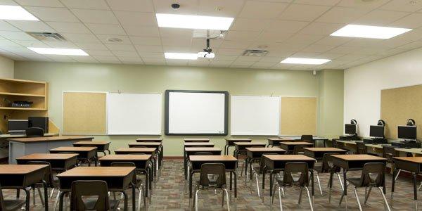 LED paneel verlichting serie Schelde in klaslokaal